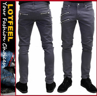 Moto biker jeans skinny rockabilly punk tattoo emo pants (ROCK001)