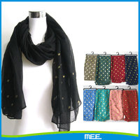 voile polyester sequined scarf