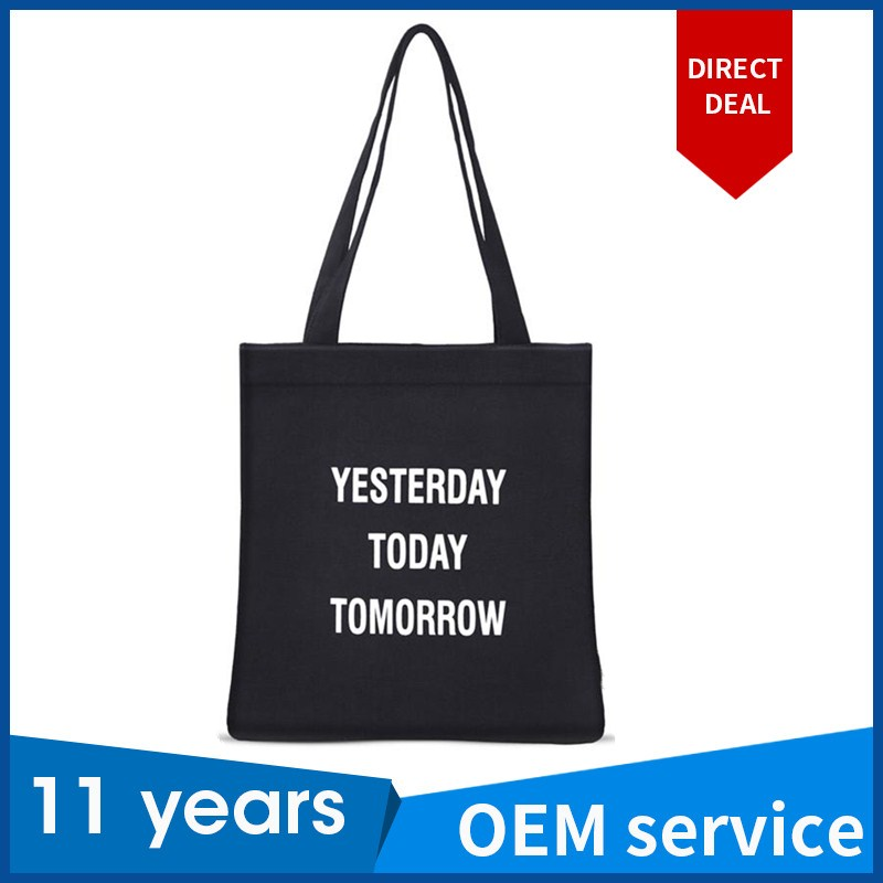 Promotion blank plain cotton canvas recycle shopping tote handle bag