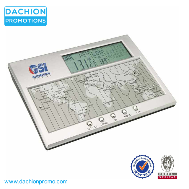 Promotional Vaghi Digital World Time Clock Calendar and Thermometer