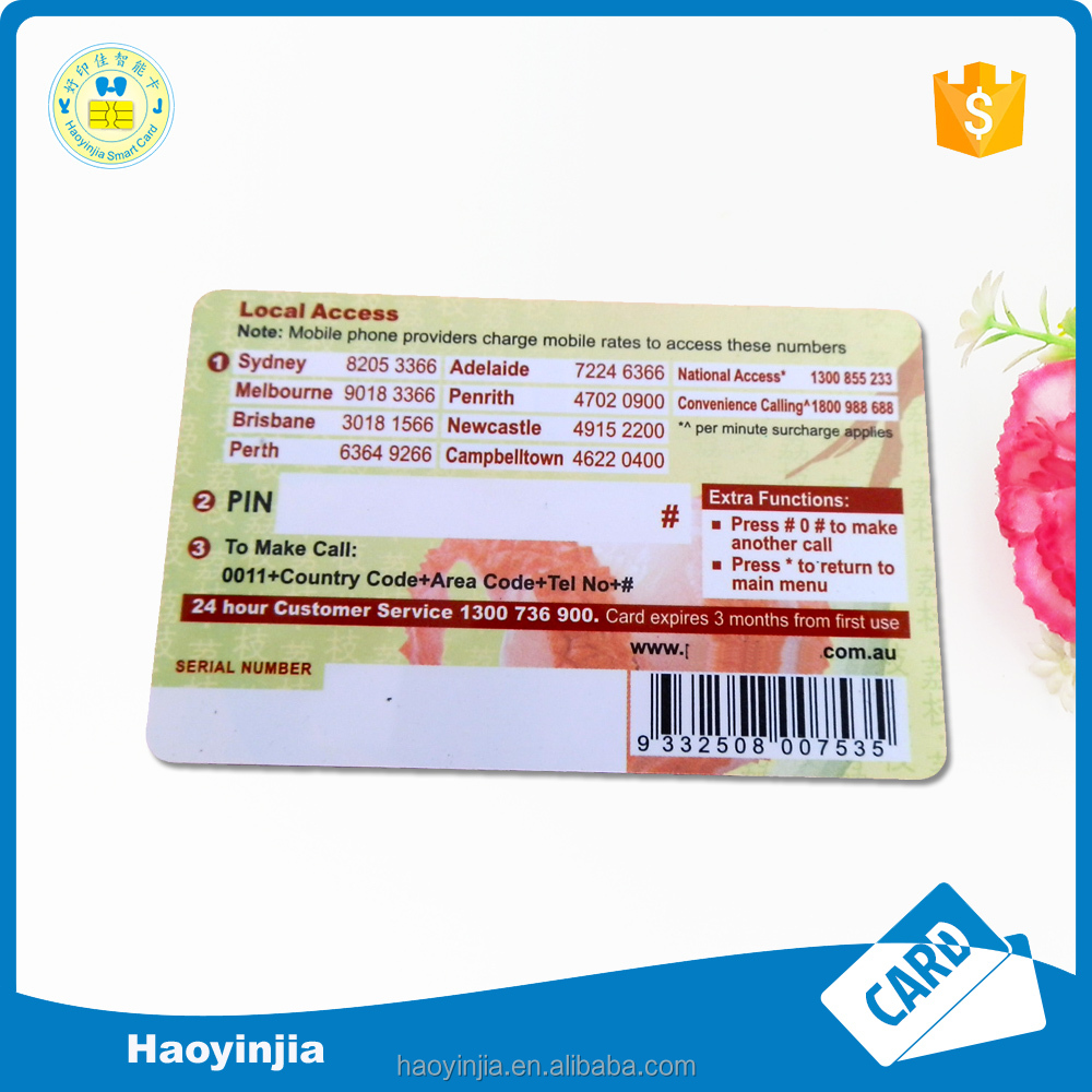 Full color PVC/PAPER telecom recharge card with fast delivery