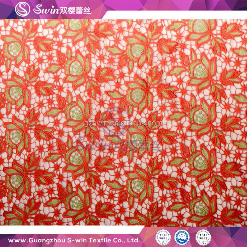 African Embroidery Lce Water Soluble Multi Color Red Green Floral Lace Net Hole Fabric For African Festival Lace Dress