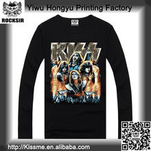 Zhejiang Yiwu Printing Factory 100% cotton Kiss Music Band long sleeve round neck custom t shirt distributors