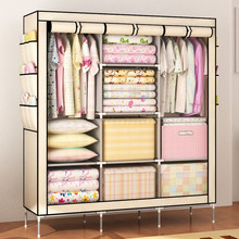 Huge size with side pockets non-woven fabric portable folding wardrobe