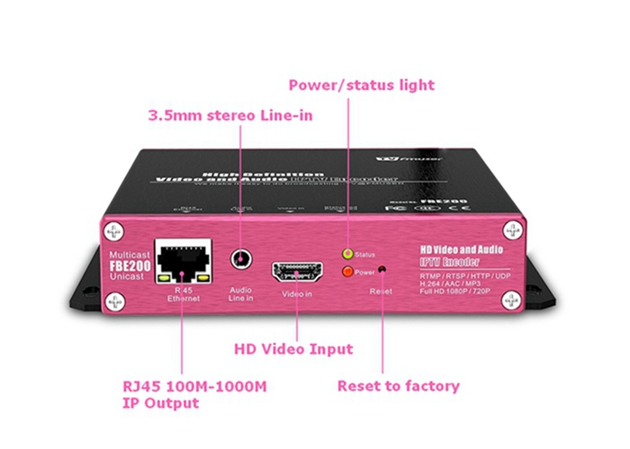 FMUSER FBE200 H.264 LAN HD IPTV Video Encoder Support HLS M3U8 RTSP RTMPS UDP ONVIF for Youtube Facebook Wowza Live Streaming
