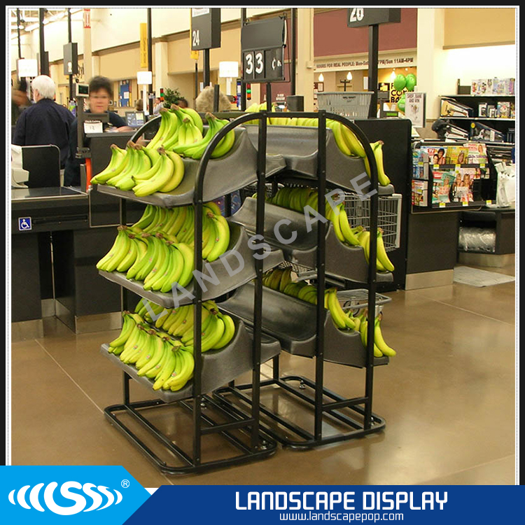 Customized metal banana display rack / floor banana display shelf / banana display stand