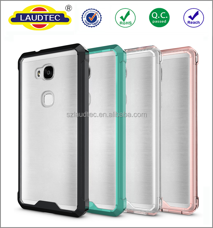 Air hybrid pc+TPU phone case for huawei honor 5x ,transparent pc back +TPU side shockproof case