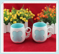 Fashion creative design green paint flowers ceramic tea mug with special handle