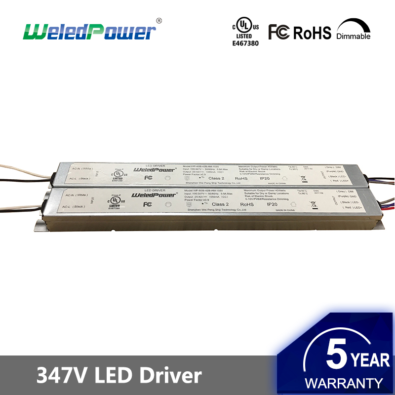 UL FCC class p ultra thin slim 0-10V dimmable constant current 36W 40W 50W 60W 347V led driver power supply