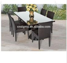 2017 Trade Assurance most popular alum frame rattan patio indonesia dining table furniture sale