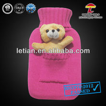 BS 1000ml natural rubber hot water bag knitted cover with a pocket holding toys