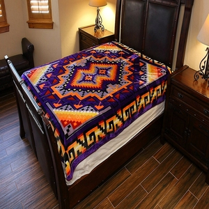 100% polyester native american blankets throw ethnic blanket flannel coral sherpa fleece