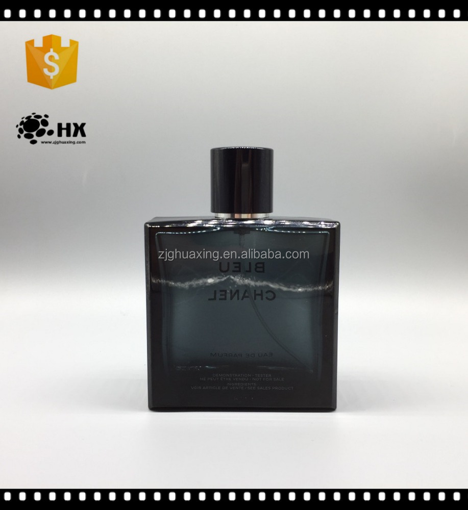 100ml square black empty fancy men refillable high quality magnetic aluminum cap brand perfume bottle