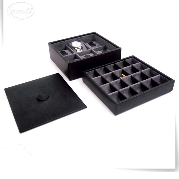 reliable pu leather luxury simple square led cufflink boxes black ribbed
