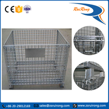 warehouse rigid collapsible steel wire roll storage box/container/cage