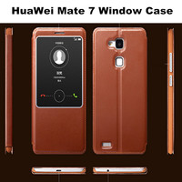 Slim Smart Touch View Sleep Wake Up Function Leather Case For huawei mate 7 First Layer Cow Leather Cover