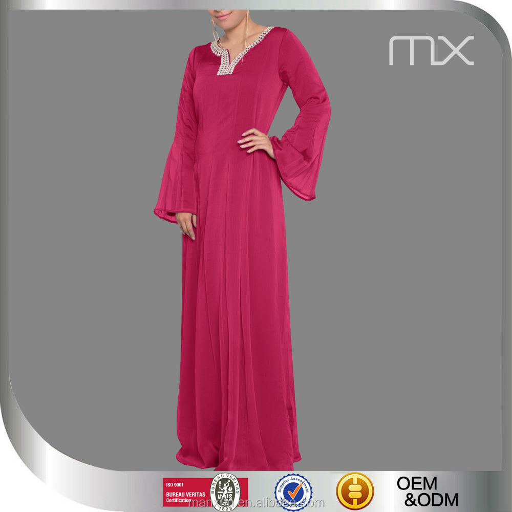 Fat Lady Muslim Evening Dress with Special Beading Neck Chiffon Long Dress