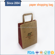 High quality brown kraft material foldable eco shopping bag with flat handles