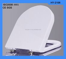 HY-2106 D shape plastic pussy duroplst soft closing hinge toilet seats