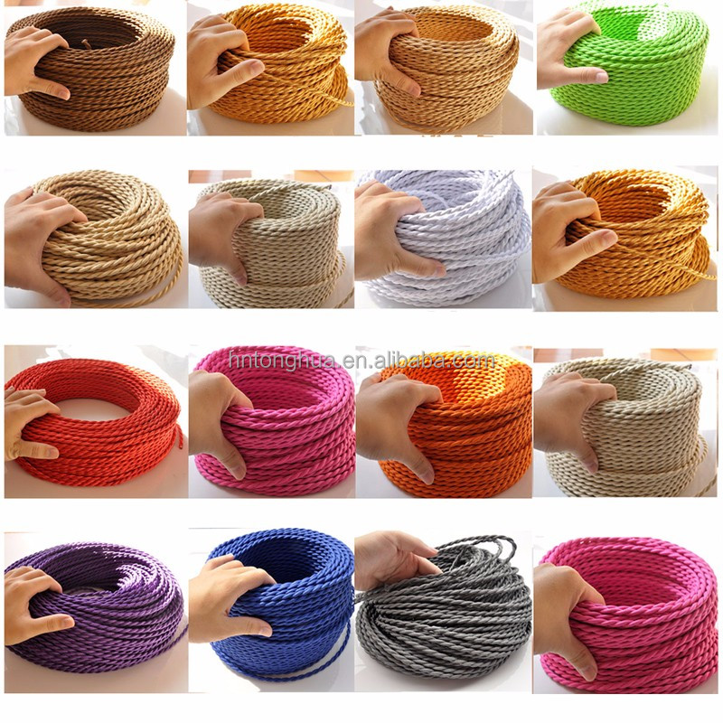 Fabric Electrical Wire Cord Vintage Pendant Light Cable Wire Electrical Cable Power Cord For DIY Lighting