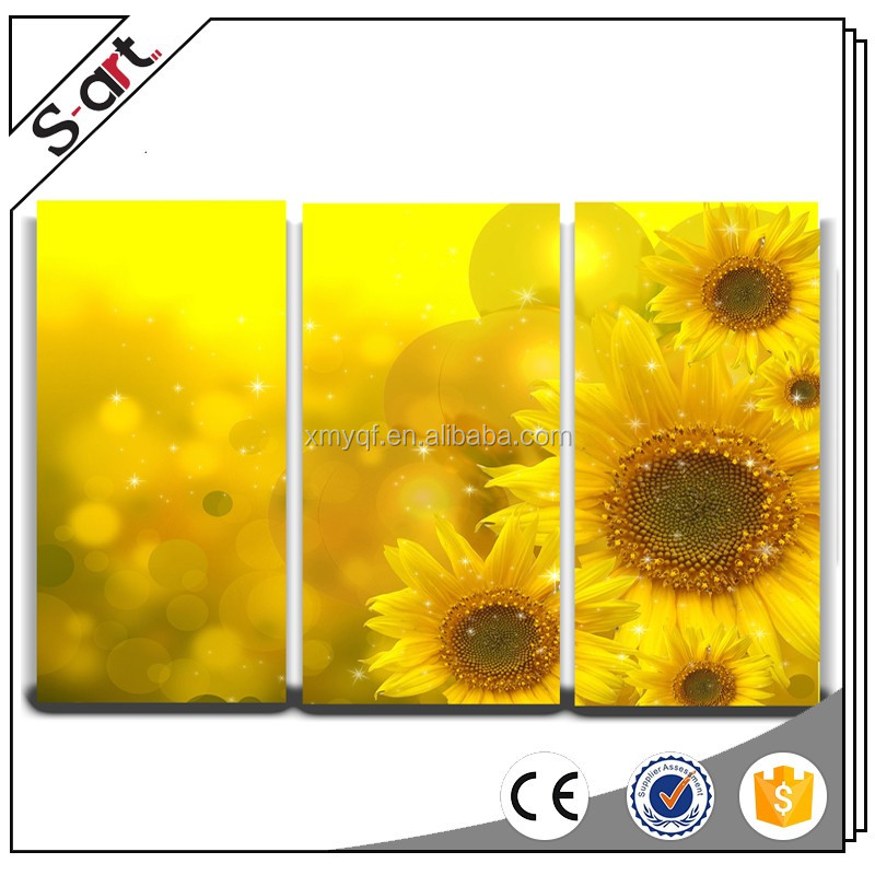 3 panels sunflower high resolution flower group modern canvas oil painting picture
