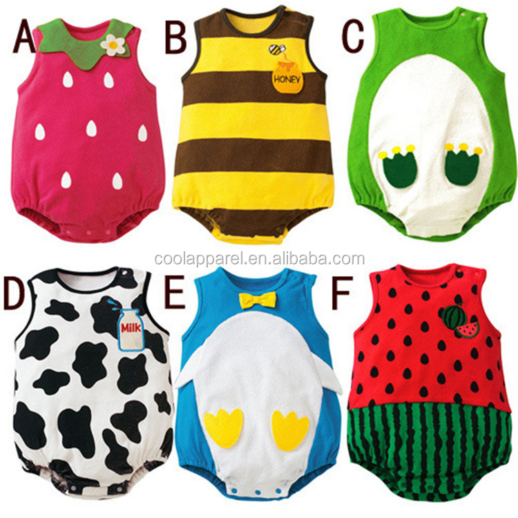 2016 new fashion cheap price fruit newborn baby clothes cute baby romper