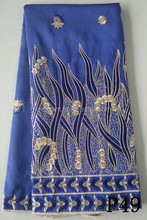 Royal blue 5 Yards New Design Nigerian Raw Silk Embroidery Designs Cheap African George Fabric