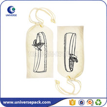 Promotional custom organic cotton drawstring shoe bag wholesale