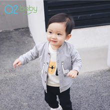 Q2-baby Best Selling New Korean Style Gray Color Boutique Baby Coats