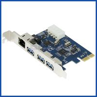 3-Port USB 3.0 Pci-e Gigabit Ethernet Lan RJ45 Network