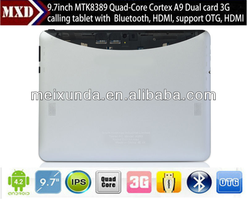 High quality tablet CE 9.7 inch tablet PC with Dual cameras 1024*768 IPS capacitive 10 point touch