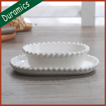 Elegant porcelain dinnerware set plain white ceramic pearl plate and bowl