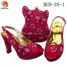 BCH35 Queency Wholesale High Quality Cute Design Clutch Ladies Evening Shoes with Matching Bags