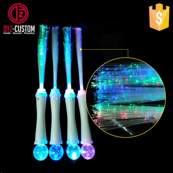 Plastic Light Up Fiber Optic Stick / fiber optic glowing wand with magic ball