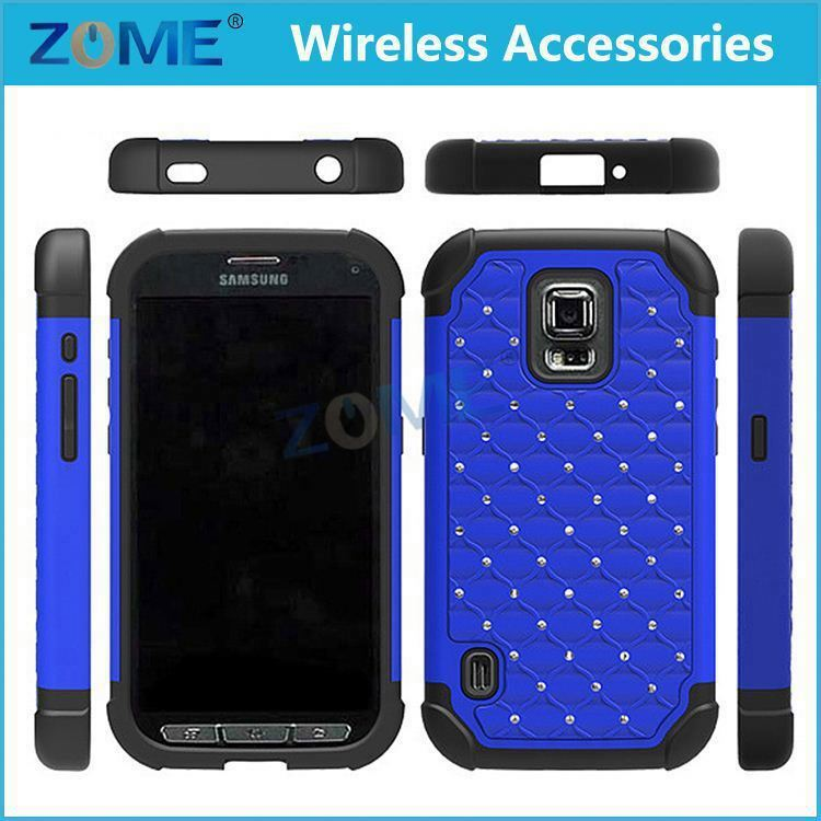Alibaba Rubberized Pc Cover For Samsung Galaxy S5 Active G870 Hybrid Armor High Impact Diamond Bling Hard Soft Skin Case
