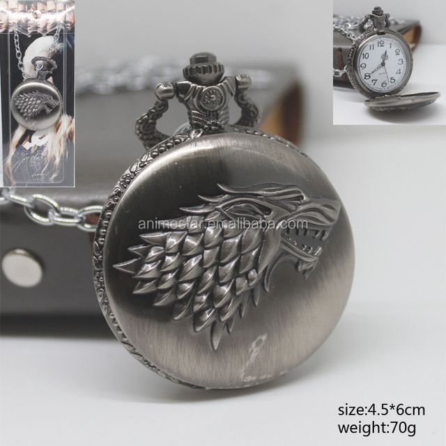 New Style Game of Thrones House of Stark Logo Fashion Pocket Watch Silver For Men