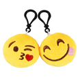 "24pcs 2"" Emoji Smiley Stuffed Plush Toy KEY CHAIN Emoticon Yellow Soft Cushion"