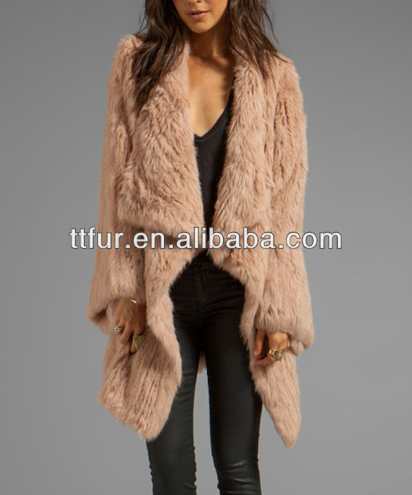 TT886-BE Long hair rabbit fur knitted kimono coat for women