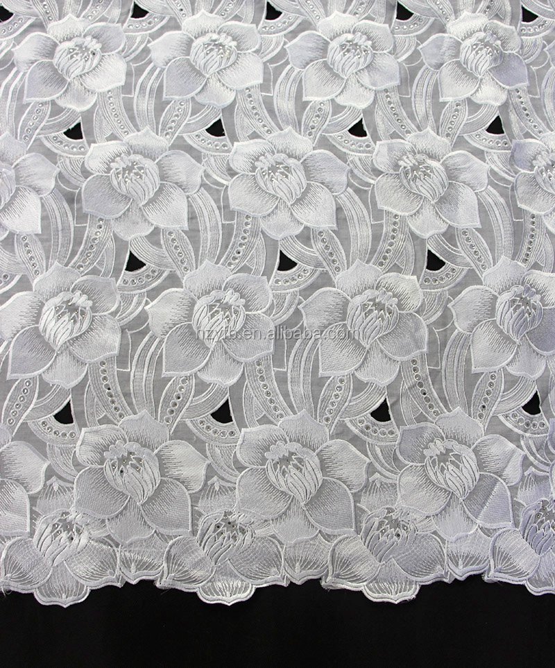 Top quality unique uk swiss lace / most popular nigeria styles austrian lace fabric / pure white elegant voile lace fabric