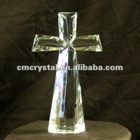 2016 unique crystal glass cross decoration standing