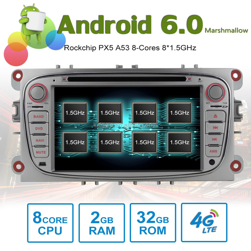 8 core Android6.0 octa core car DVD for ford GPS with 8 Cores 2GB RAM 32GB ROM support 4G SIM Card