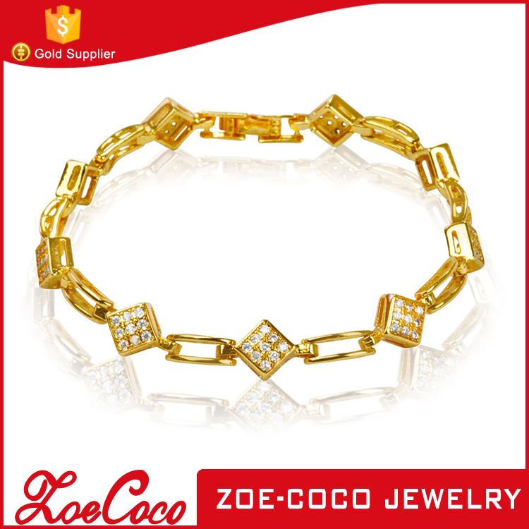 2016 fashion new design Gold plated zircon jewelry bracelet for girl
