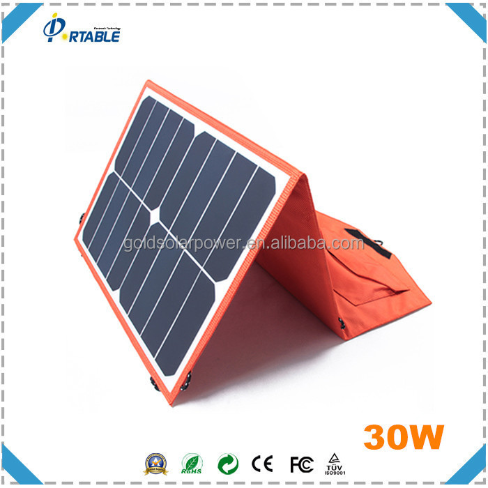 Paneles solares chinos precio 30W solar folding panel with SUNPOWER CELL for laptop, tablet, iphone etc