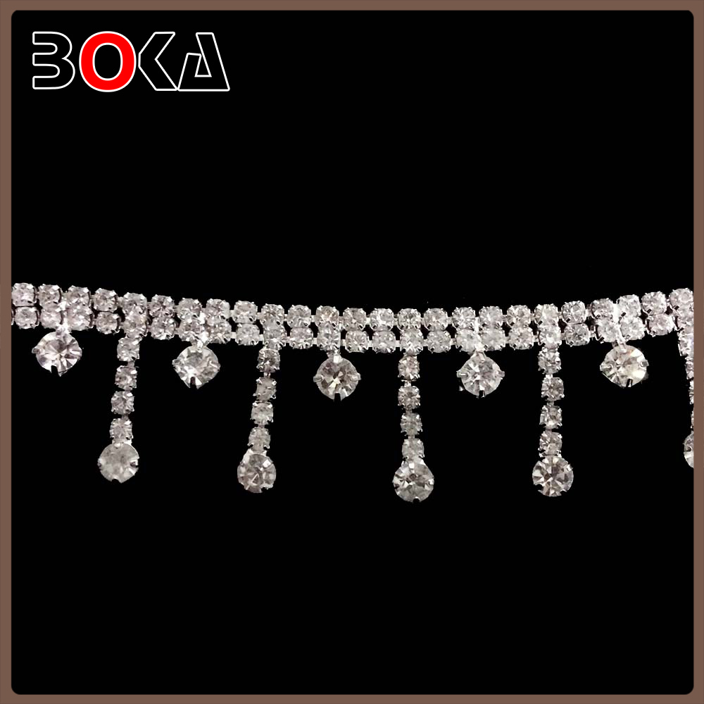 BOKA clear rhinestone fringe chain trimming for curtain decoration
