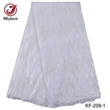 Guangzhou african women party clothes net lace fabric with full sequins
