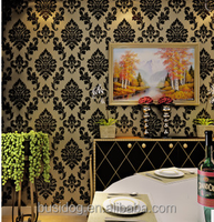 Wholesale price 2015 high quality 3d Damask home interior decoration velvet flocking wallpaper