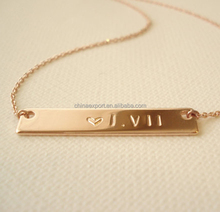 2017 Latest Minimalis Love Jewelry Custom Text Bar Name Necklace Gold