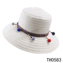 Wholesale cheap white plain paper straw bucket hats to decorate with pompom