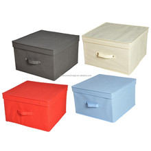 100% Polyester Fabric Colorful Storage Box With Cover, Foldable Clothes Toys Storage