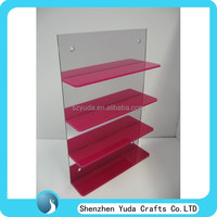 Slatwall rose-red nail polish wholesale display/ display stand acrylic material